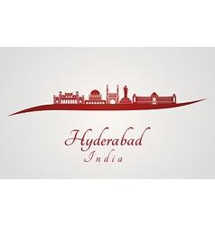Hyderabad skyline in red vector
