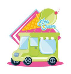 ice cream shop van vector image