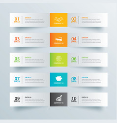 infographics tab in horizontal paper index with vector image