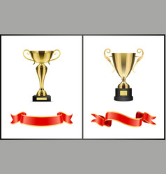 leadership golden awards for competition winning vector image