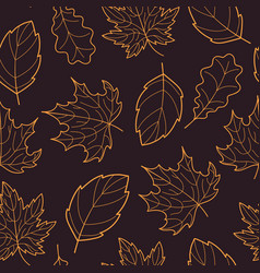 Leaves seamless outline orange dark vector