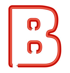 letter b plastic tube icon cartoon style vector image