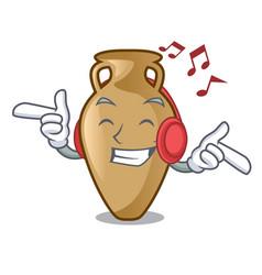 listening music amphora mascot cartoon style vector image