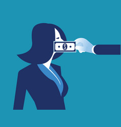 Lobbyist corruption businesswoman with bank note vector