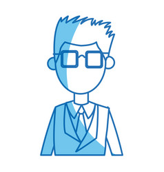 man young blue suit and tie glasses blue line vector image