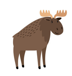 Moose cute elk with large horns on white vector