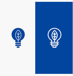 Nature of power bulb line and glyph solid icon vector