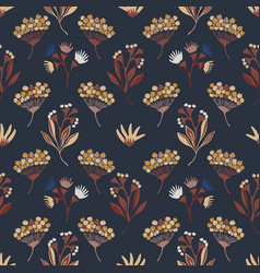 navy blue and orange seed pods seamless vector image