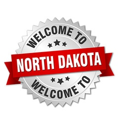 North Dakota 3d silver badge with red ribbon vector