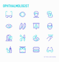 Ophthalmologist thin line icons set vector