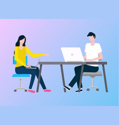 people working in office laptops and computer vector image