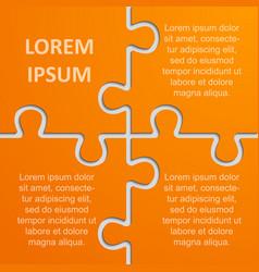 piece puzzle infographic four steps jigsaw puzzle vector image