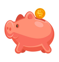 piggy with golden dollar investment or deposit vector image