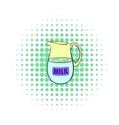 Pitcher of milk icon comics style vector image