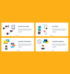 Positive evaluation app rating and customer vector