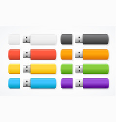 realistic 3d detailed color usb flash drive set vector image