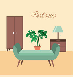 Rest room chair cabinet pot plant table lamp vector