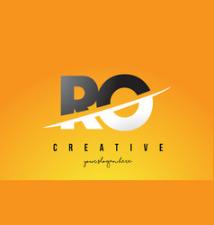 Ro r o letter modern logo design with yellow vector