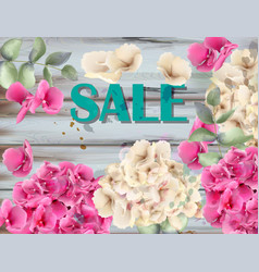 sale banner with hydrangeas watercolor background vector image
