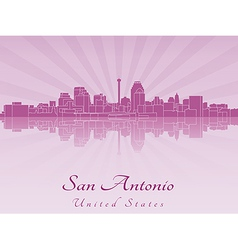 San Antonio skyline in purple radiant orchid vector image