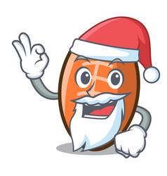 santa rugby ball mascot cartoon vector image