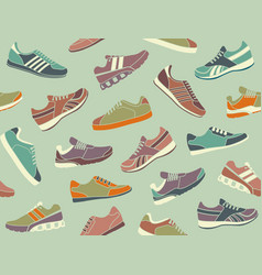 seamless background from images sport shoes vector image