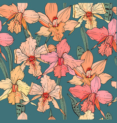 Seamless pattern with orchid flowers endless vector