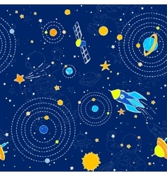 Seamless pattern with UFOs planets stars and vector image