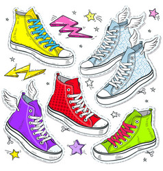 Set bright shoes sneakers colored sneakers vector