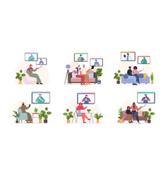 Set mix race people discussing with doctors in web vector