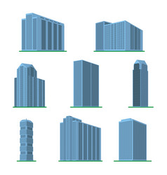 Set of eight modern high-rise building vector