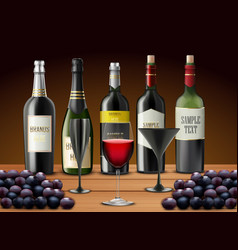 set of glasses wine and champagne bottles vector image