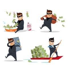Set of money stealing concepts flat design vector