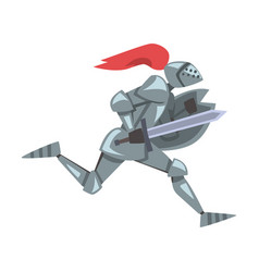 side view running medieval knight chivalry vector image