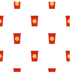 Soft drink in a red paper cup pattern seamless vector