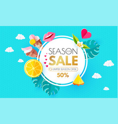Summer sale layout design template paper art vector