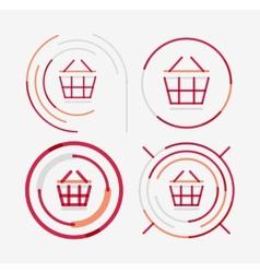 Thin line neat design logo set shopping cart icon vector