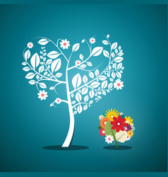 tree with flowers on blue background flat design vector image