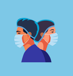 Two doctors in medical masks man and woman vector