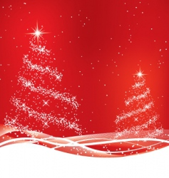 two red Christmas tree vector image