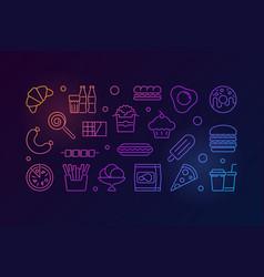 Unhealthy junk food colorful line vector
