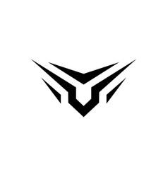 v letter wings logo emblem icon vector image