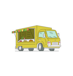 vending trade truck for street food sketch vector image