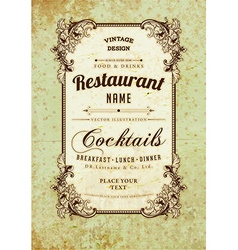 Vintage Restaurant Sign vector image