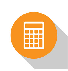 White calculator icon isolated on white background vector