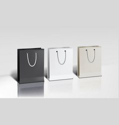 white shopping paper bags set on white background vector image