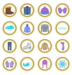 Winter clothes set cartoon style vector