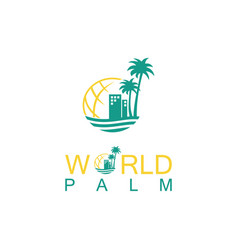 World palm logo vector