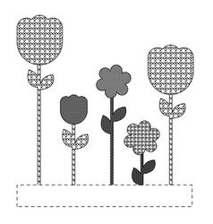 grayscale figures flowers plants icon vector image