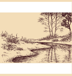 landscape drawing river flow and vegetation vector image vector image